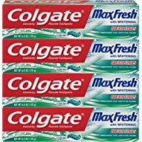 4-Pack Colgate Max Fresh Whitening Toothpaste with Breath Strips, 6 ounce (Clean Mint)