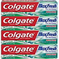 Colgate Max Fresh Whitening Toothpaste with Breath Strips, Clean Mint - 6 ounce ,4 Count