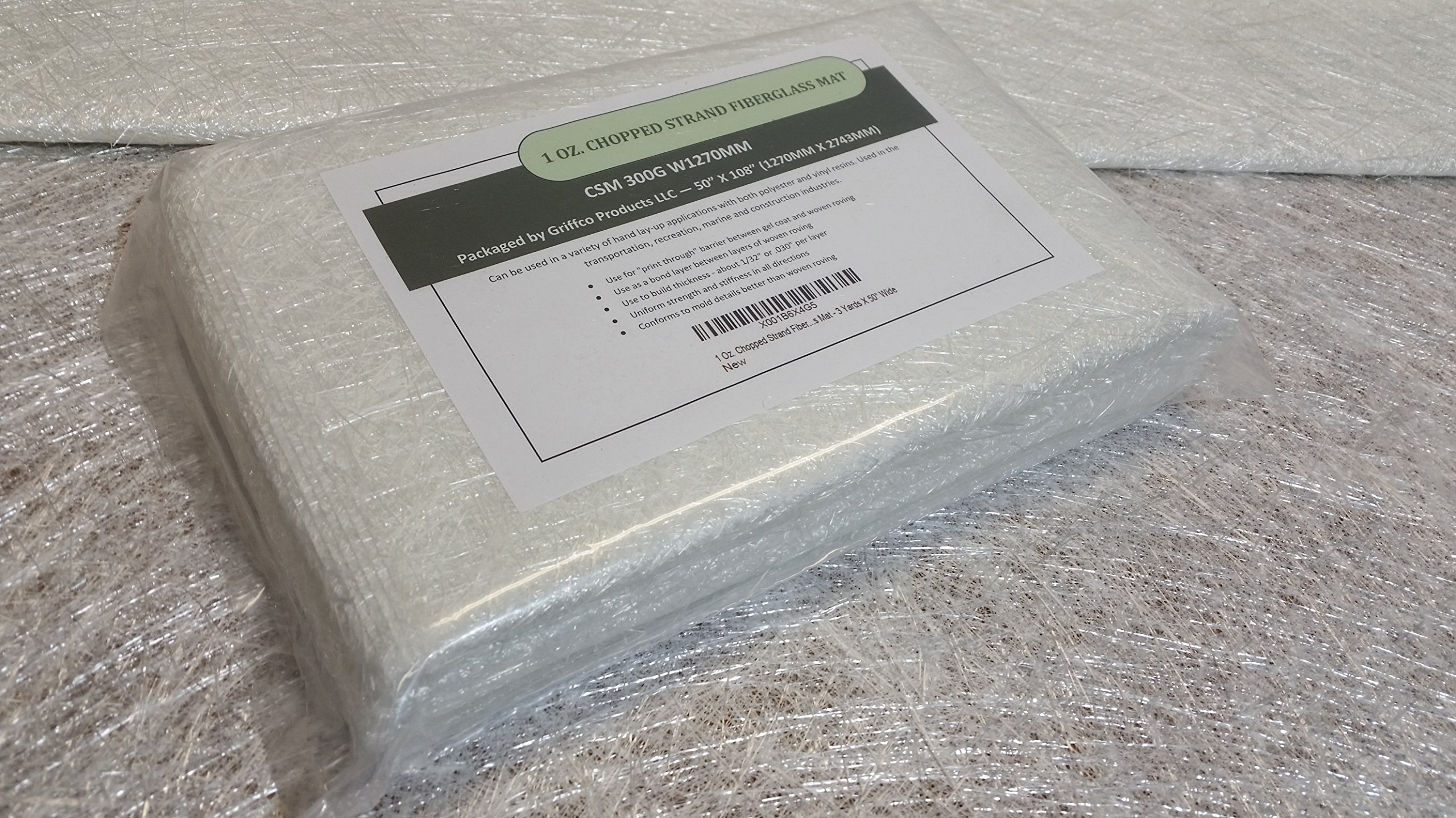 1 Oz. Chopped Strand Fiberglass Mat (lightweight) - 3 Yards X 50'' Wide for hand layup, vacuum bagging or molding with polyester or vinyl ester resins