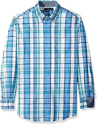 Nautica - Camisa de manga larga con botones y botones para hombre - Azul - 1X: Amazon.es: Ropa y accesorios