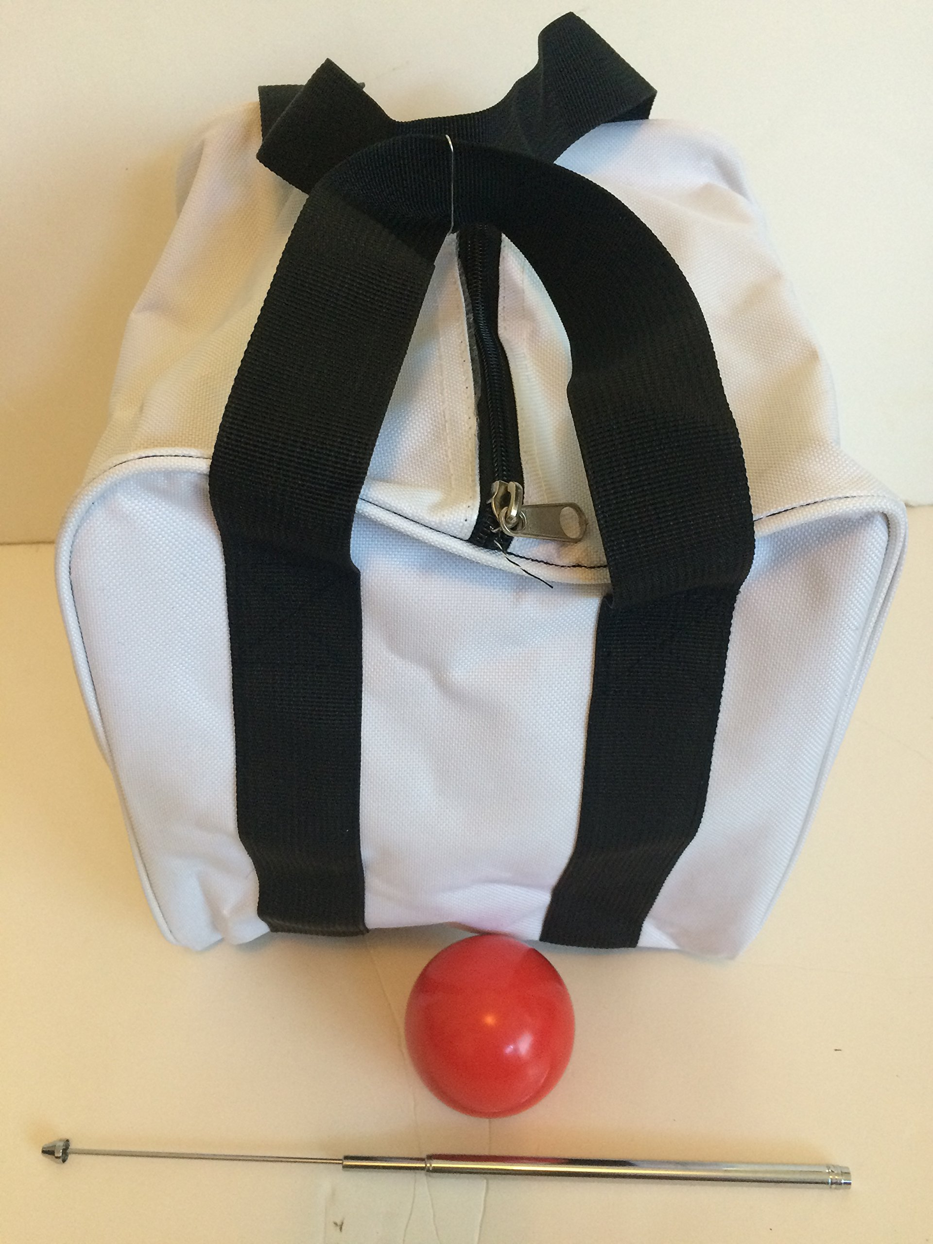 Unique Bocce Accessories Package - Extra Heavy Duty Nylon Bocce Bag (White with Black Handles), red pallina, Extendable Measuring Device