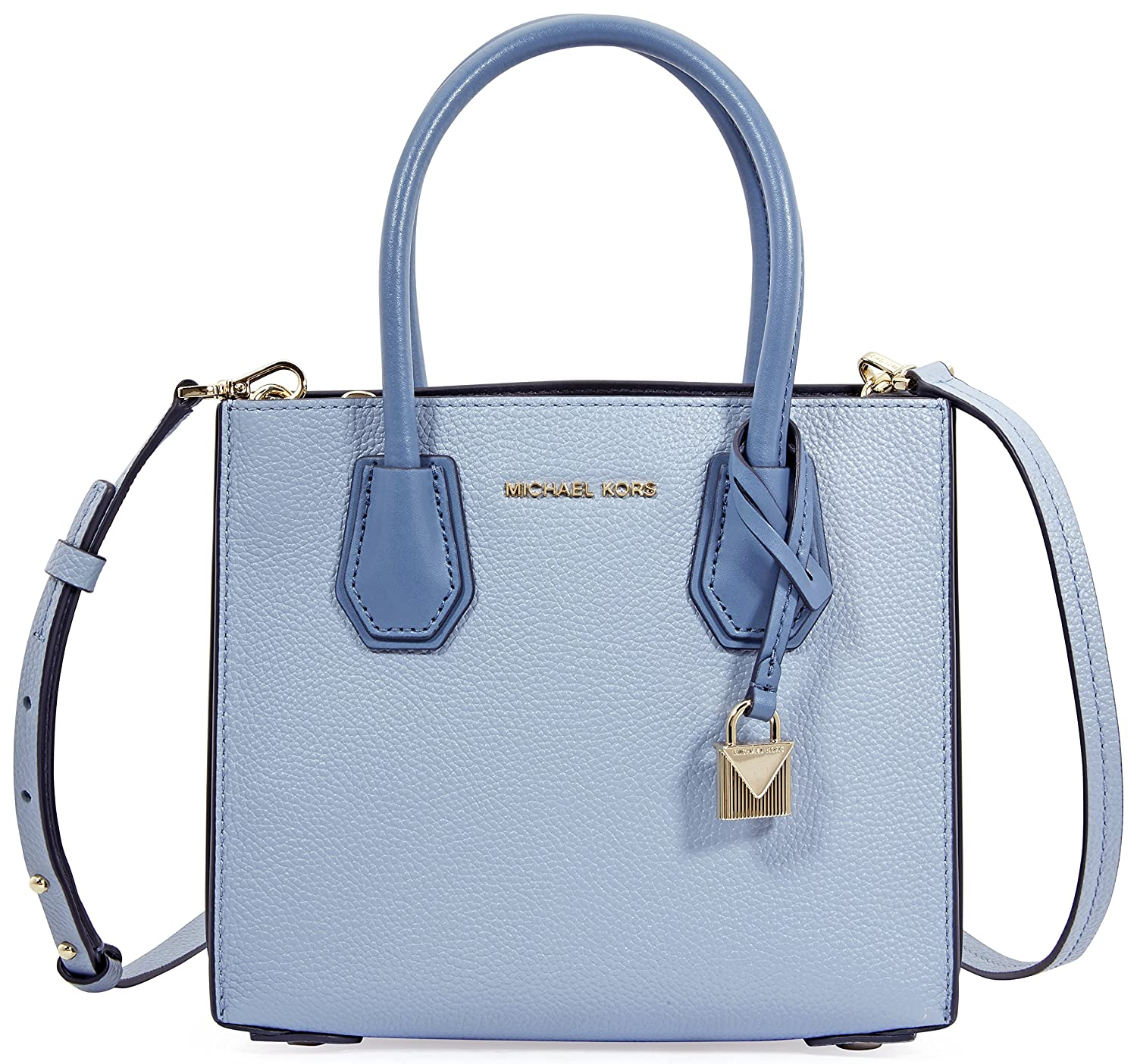 bf589acfcac7 MICHAEL by Michael Kors Mercer Pale Blue Leather Accordion Messenger Bag  one size Pale Blue  Amazon.co.uk  Shoes   Bags