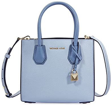 d469d90931f918 MICHAEL by Michael Kors Mercer Pale Blue Leather Accordion Messenger Bag  one size Pale Blue
