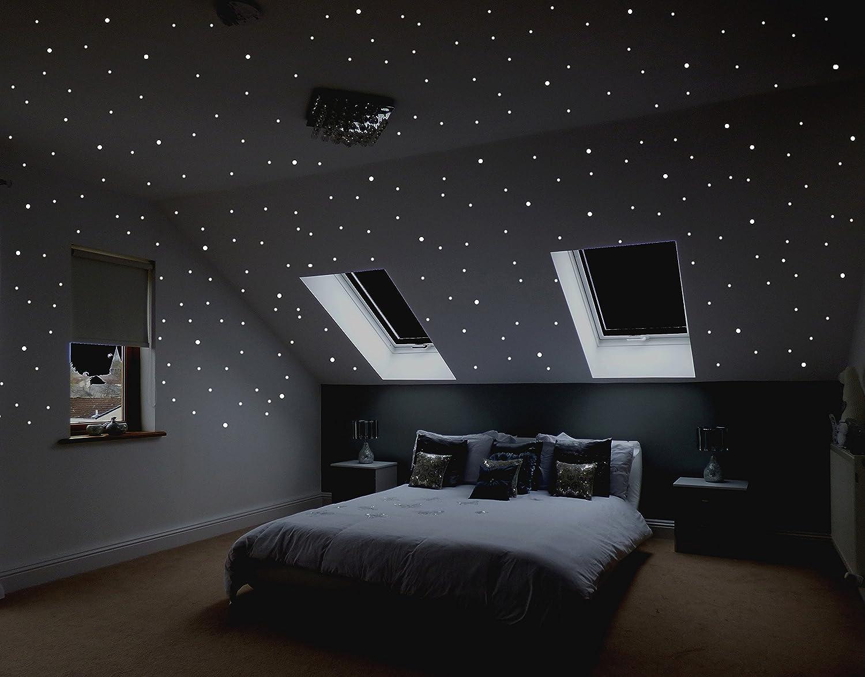 Realistischer Sternenhimmel zum Kleben mit über 16 selbstklebenden,  fluoreszierenden, Sternen (Leuchtpunkten, Leuchtsternen).