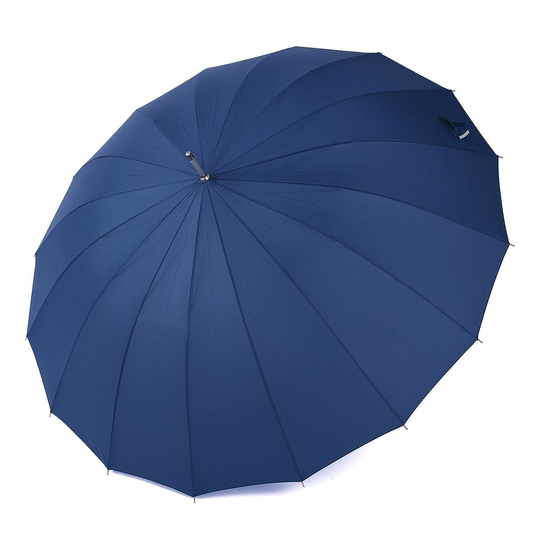 Paraguas Rainbrace-Para Viaje, Super Grande, Apertura Automático, Paraguas Antiviento De Golf Largo Con 16 Varillas De Fibra De Vidrio (60), ...
