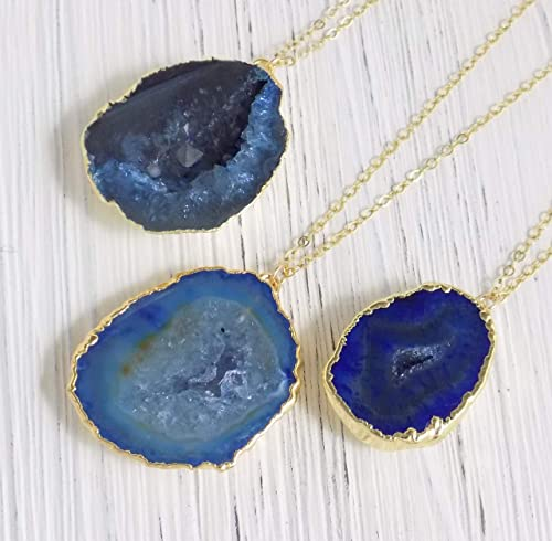 24 Inch Necklace Geode Druzy Necklace Natural Gemstone Necklace Blue Geode Druzy Pendant Agate Geode Necklace Long Necklace