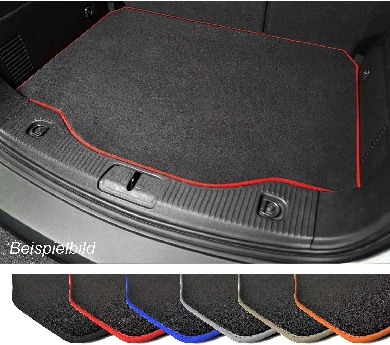 Premium Kofferraummatte Für Vw Polo 5 6r Velours Anthrazit Umrandung Rot Kofferraumschutz Auto