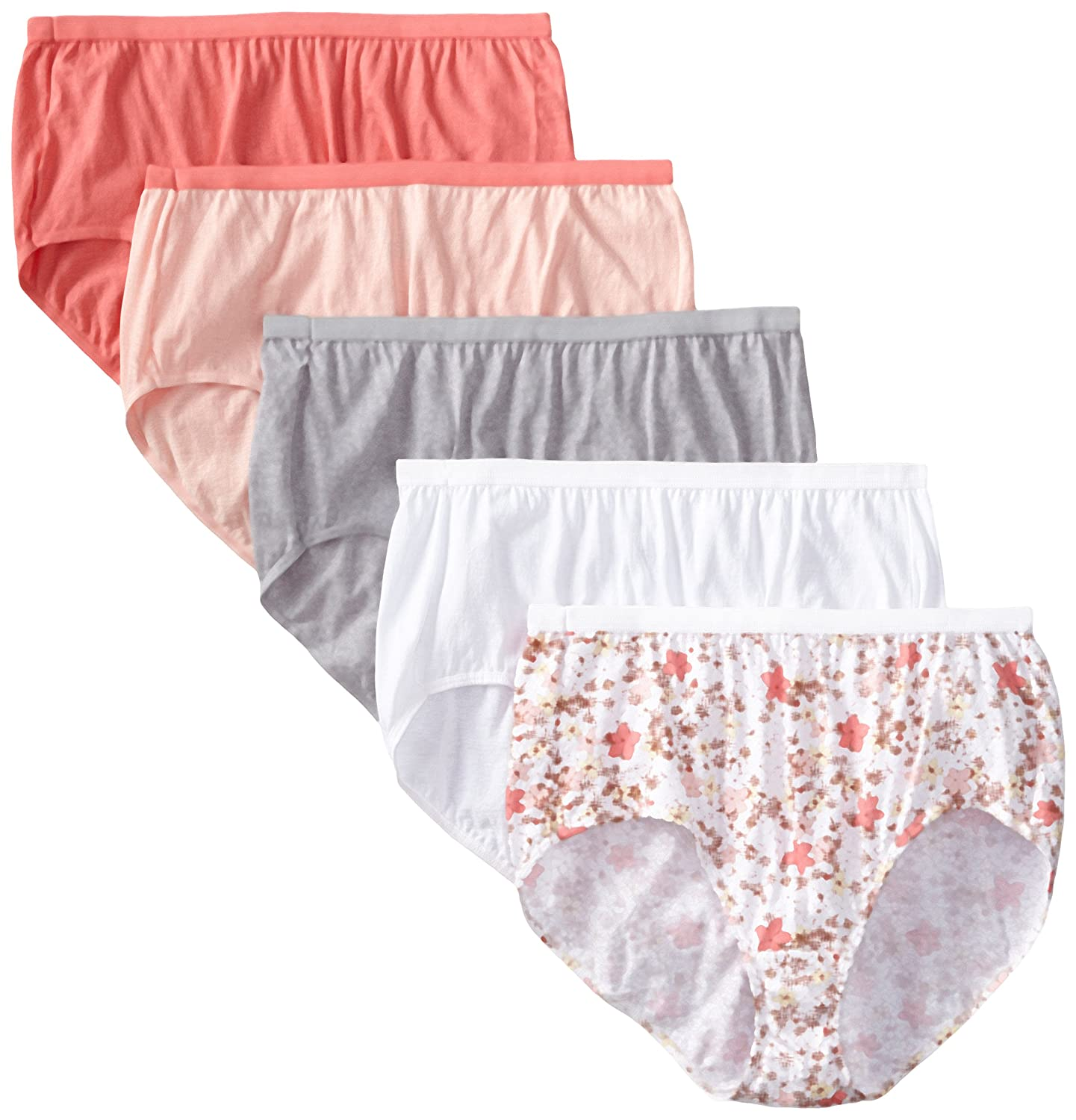 Just My Size Women's 5 Pack Cotton Brief Assorted Color Panty Just My Size IA- Panties 1610C5