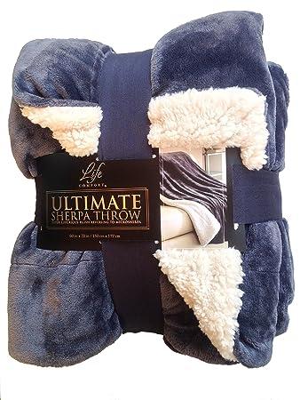 sherpa throw blanket Amazon.com: Life Comfort Ultimate Sherpa Throw Blanket, Slate Blue  sherpa throw blanket