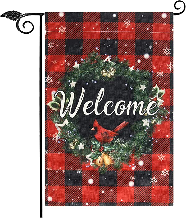 Unves Christmas Garden Flag, Welcome Garden Flag Vertical Double Sided, Buffalo Check Plaid Winter Holiday Christmas Yard Flag, Rustic Farmhouse Burlap House Flag for Outdoor Decor 12.5 X 18 inch