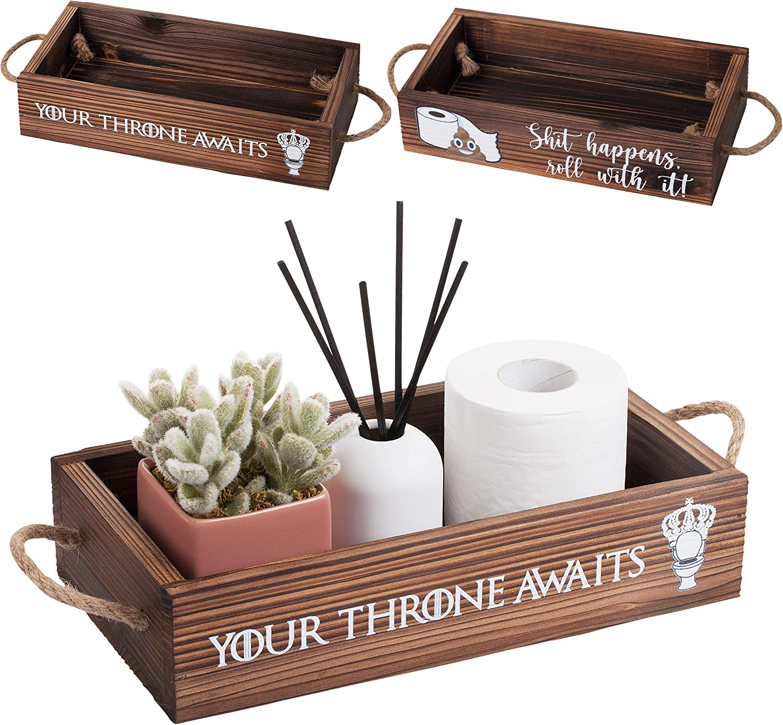 Makuzo Funny Bathroom Decor | Toilet Decor| Bathroom Box | Toilet Paper Holder Box| Funny Home Decor| Half Bath Decor| Bathroom Sign Funny| Toilet Basket Tank Topper