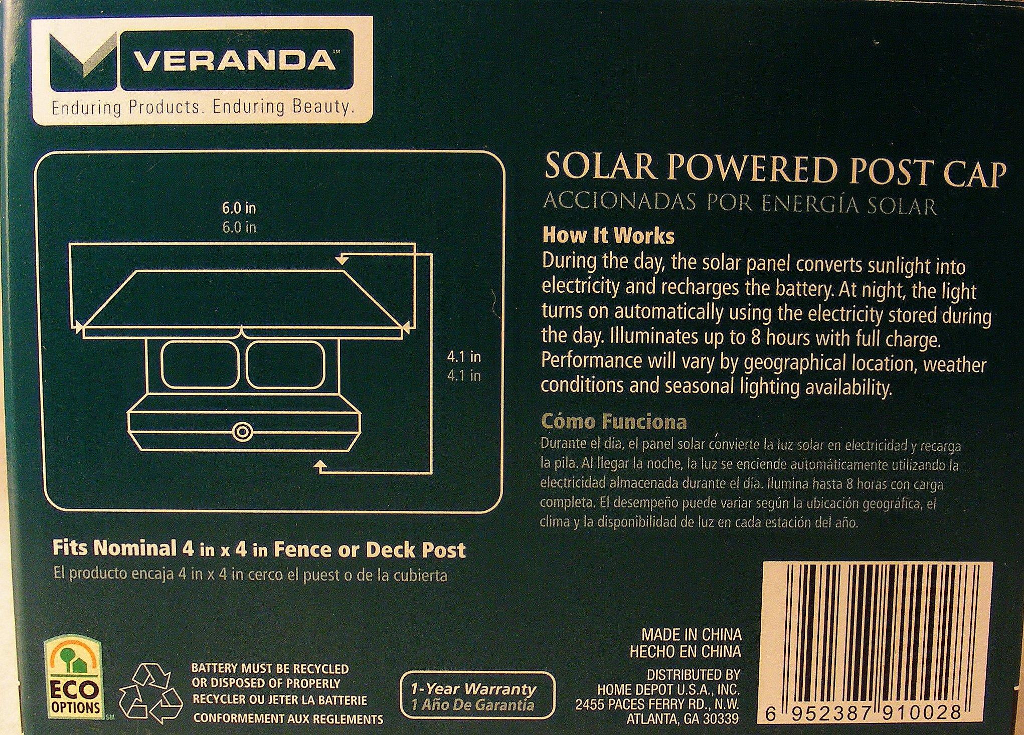 4 in. x 4 in. White Square Solar Panel Post Cap
