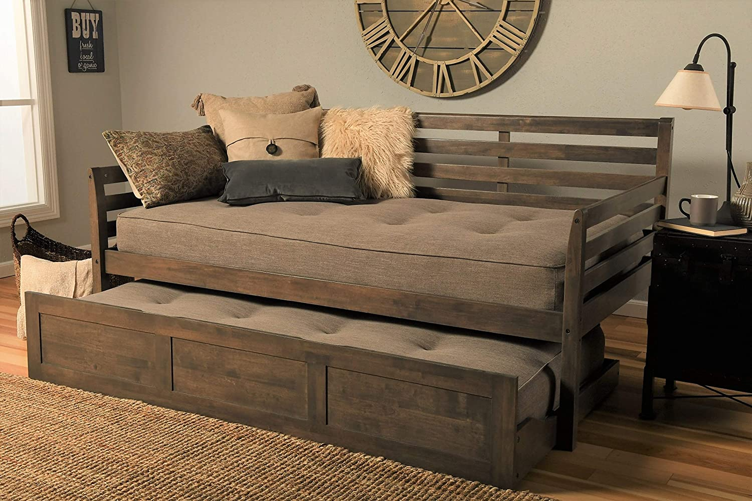 Kodiak Furniture Boho Daybed with Trundle, Twin, Rustic Walnut Finish