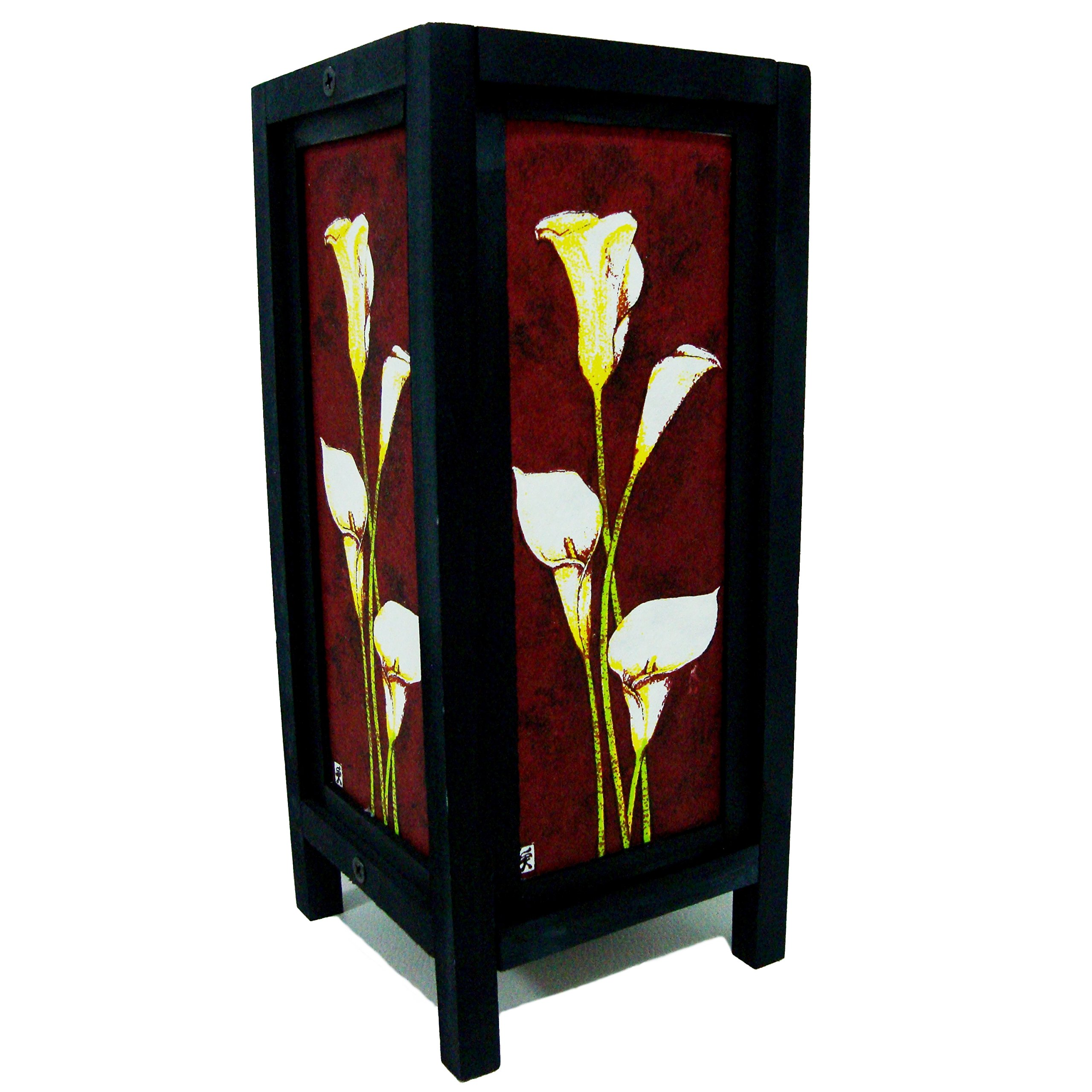 White Lily Flower Handmade Asian Oriental Wood Light Night Lamp Shade Table Desk Art Gift Home Vintage Bedroom Bedside Garden Living Room; Free Adapter; a Us 2 Pin Plug #512 by Apple-Heart (Image #5)