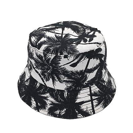 37a91648989 Newsilk Store Bucket Hats for Women Dual-use Flat Top Bucket Hat Fisherman  Hat with Coconut Tree Pattern Summer Outdoor Travel Sun Cap Fishing  Headgear Wide ...