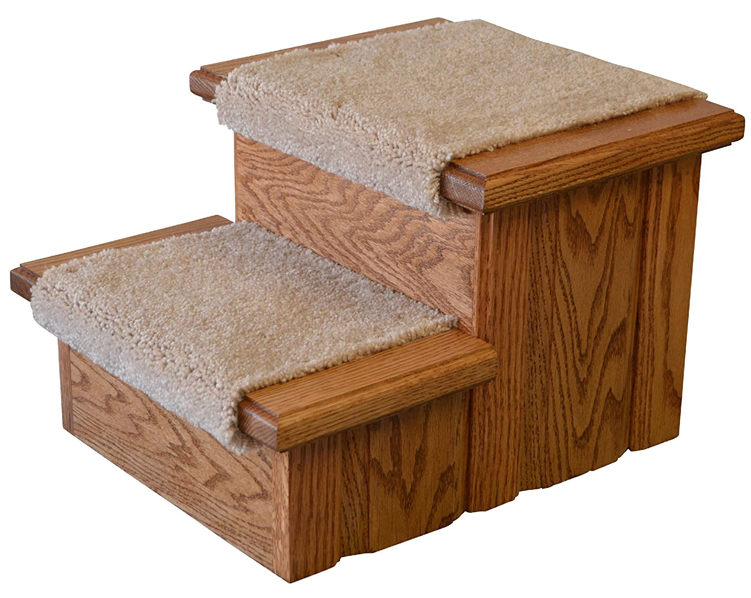 Early American Finished Solid Oak Step Stool With Carpeted Tread 11 ½ Tall Premier Pet Steps SS2cOEA