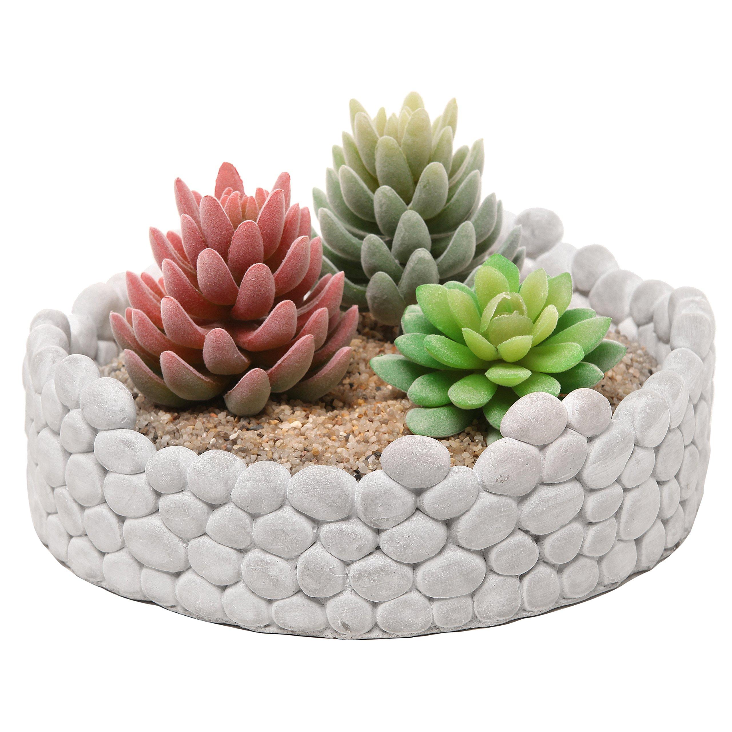 MyGift Decorative Cement Grey Rock Wall Design Plant Holder / Garden Stone Flower Planter - Large 9 Inch