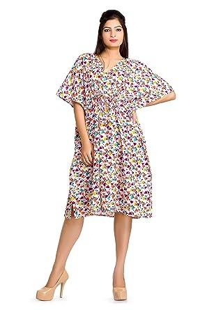 4d5fce6f961a9 Handicraft-Palace White Floral Printed Short Women's Caftan Sleepwear Free  Size Maxi Nightwear Maternity Gown