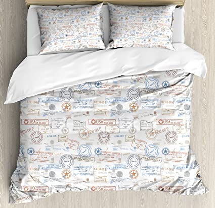 4c7ea4b20204c Ambesonne Travel Duvet Cover Set Queen Size, Vintage Old Rubber Stamps  Tourist Passport Visa Certificate