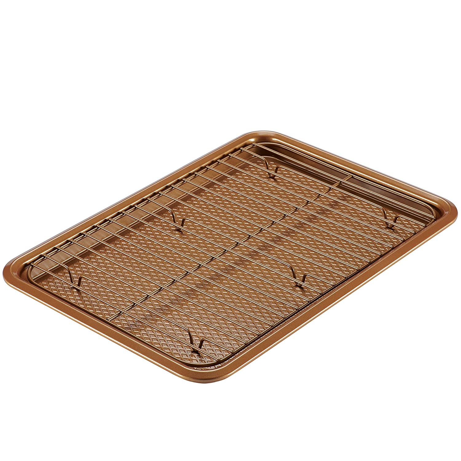 Ayesha Curry 47005 Nonstick Bakeware Set with Nonstick Cookie Sheet / Baking Sheet and Cooling Rack - 2 Piece, Copper Brown
