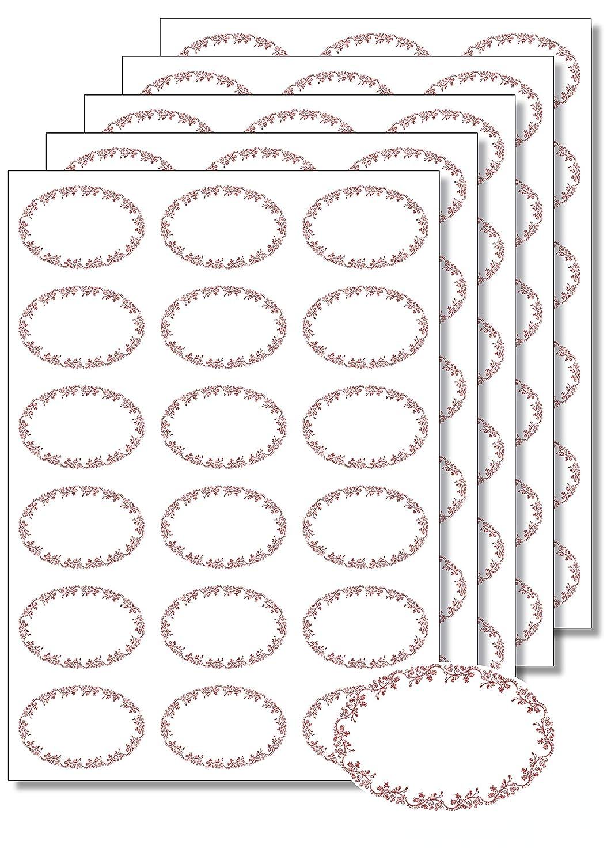 Etichette autoadesive di forma ovale, per stampa e scrittura, rimozione facile, per vasetti di marmellata e contenitori alimentari, colore rosso, formato DIN A4, 90 unità Caro Haushaltswaren