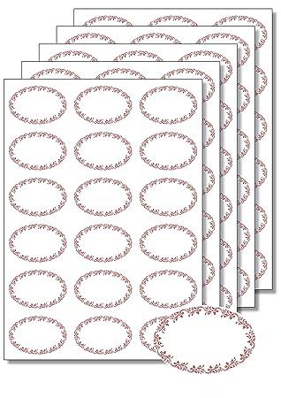 90 Etiketten Oval Ornamente Rot Zum Bedrucken Beschriften Din A4
