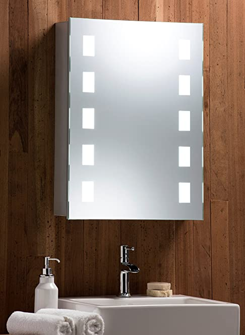 illuminated bathroom mirror cabinet w wire free demister heat pad shaver socket and sensor