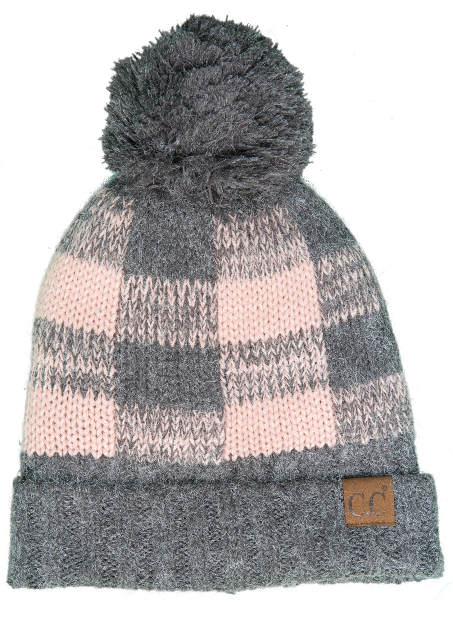 Funky Junque H-199CP-2171 Buffalo Check Hat w/Grey Pom - Grey/Pink