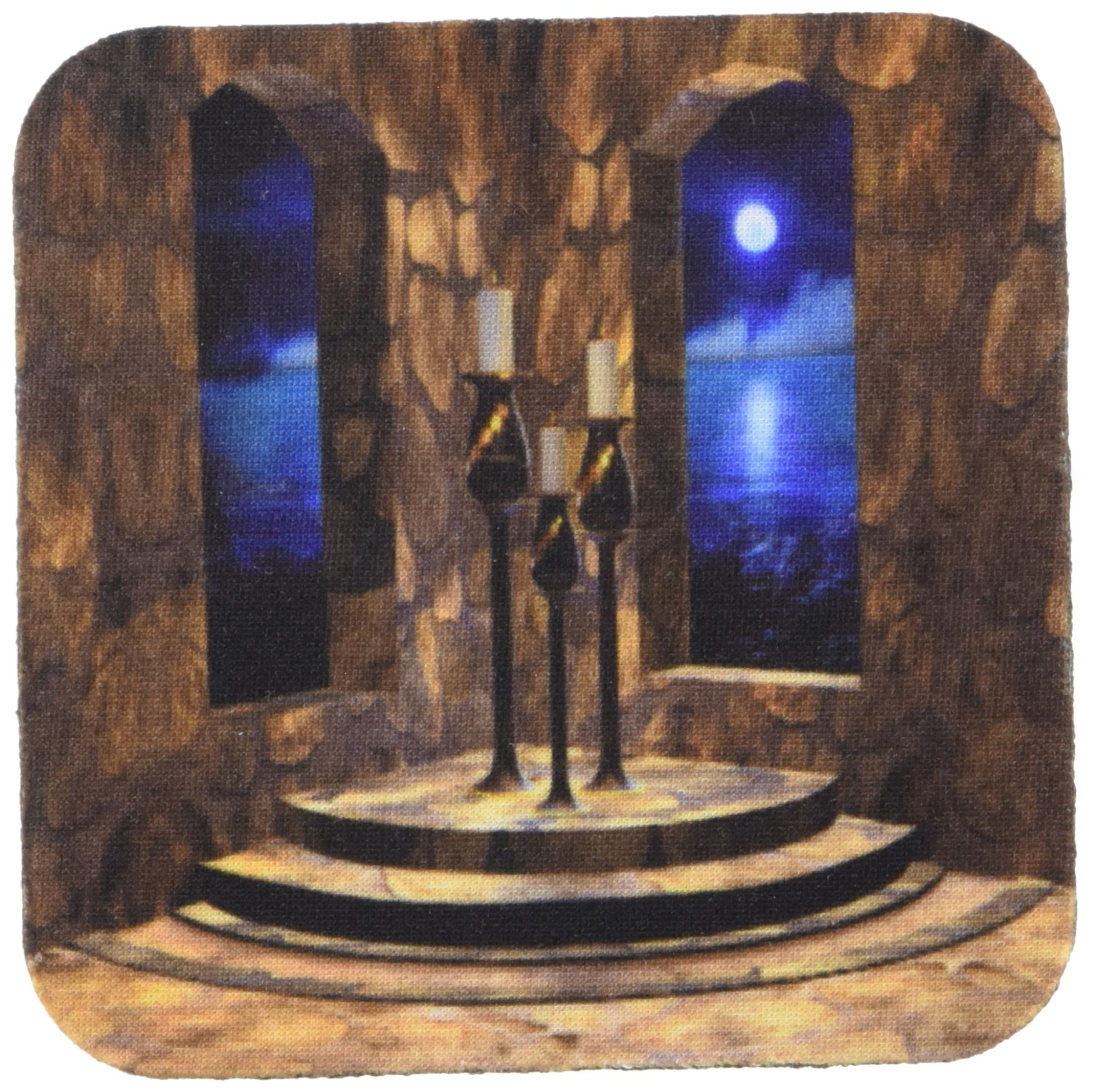 3dRose cst_11660_2 A Medieval Castle interior with Stone Walls, Arched Windows and a View of The Moonlit Sea Beyond Soft Coasters, Set of 8