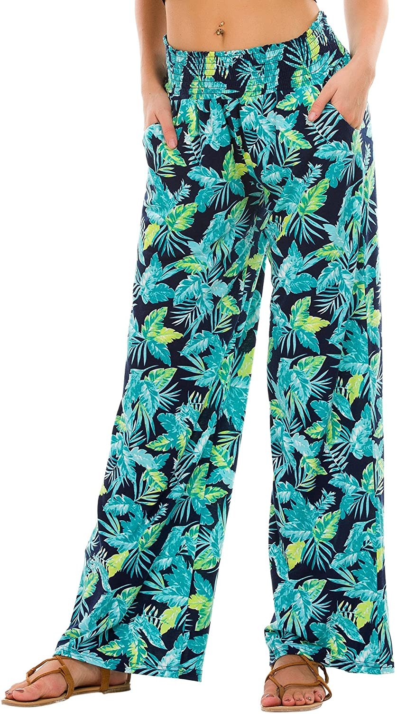 Urban CoCo Womens Boho Palazzo Pants Wide Leg Lounge Pants