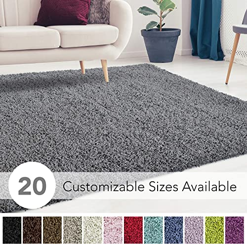 iCustomRug Cozy and Super Soft Plush Solid Shag Rug Ideal to Enhance Your Living Room and Bedroom Decor in 16 Colors 20 Custom Sizes 10 X 12 Charcoal Dark Grey