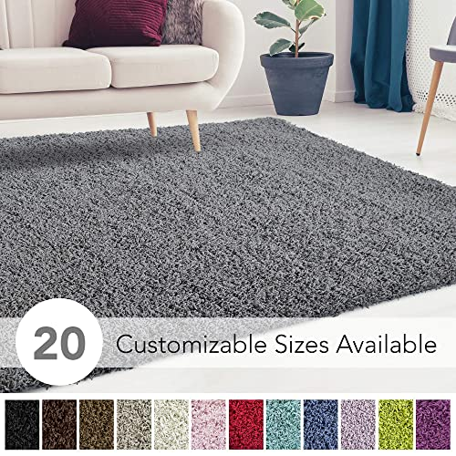 iCustomRug Cozy and Super Soft Plush Solid Shag Rug Ideal to Enhance Your Living Room and Bedroom Decor in 13 Colors 20 Custom Sizes 4 X 6 Charcoal Dark Grey