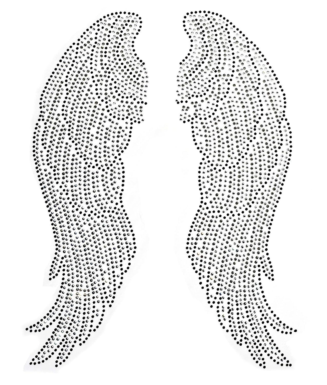 Large Angel Wing Rhinestone Iron on Hotfix Transfer bling- 10 By 14 4337029521