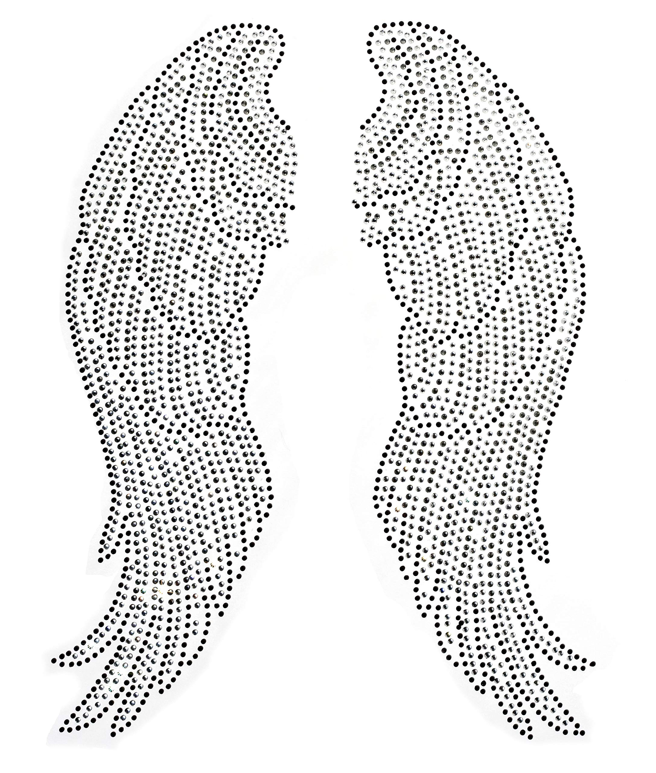 Large Angel Wing Rhinestone Iron on Hotfix Transfer bling- 10