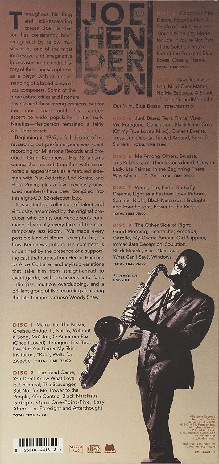 Joe Henderson Joe Henderson The Milestone Years 8 Cd Box Set