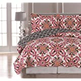 """Elaine Karen Luxury Reversible """"VALENTINA"""" Printed 3-Piece Quilt Set - Bedspread and Coverlet – Bed Cover and Pillow Sham - Hypo-allergic and Lightweight - FULL/QUEEN"""