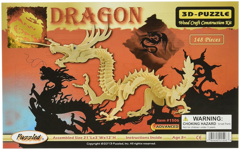 Home & Garden 3d Wooden Puzzle Dragon Jigsaw Puzzle Children Educational Woodcraft Puzzle Kit Wooden Dragon Model