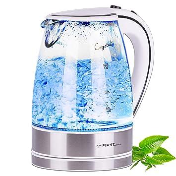 Hervidor de agua de cristal y acero fino de 2200 vatios | volumen de 1,