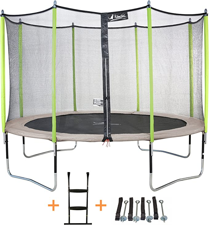 KANGUI-Cama elástica JUMPI Zen, diámetro 305-360-430 cm, con Red, Escalera y Kit de Anclaje Gris/Verde anís Talla:3,05 m: Amazon.es: Deportes y aire libre