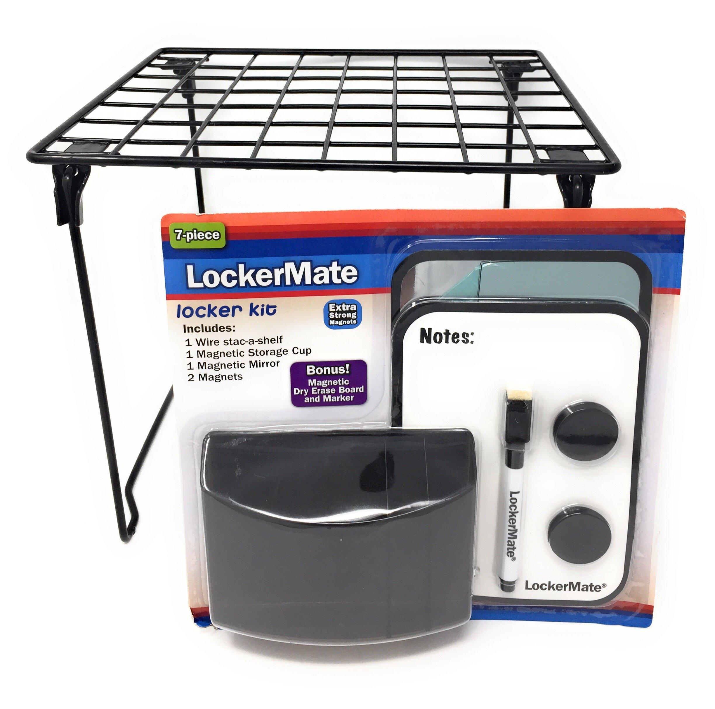 LockerMate 7 Piece Locker Kit Including Wire Stac-A-Shelf Locker Shelf (Black) by LockerMate