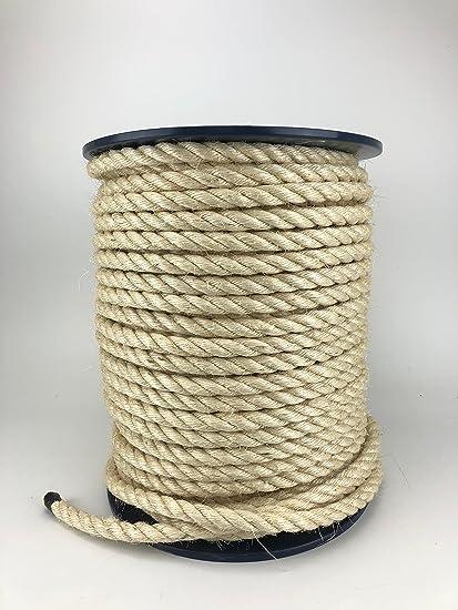 Cuerda de sisal natural de 16 mm x 50 metros de carrete, gatos, jardín