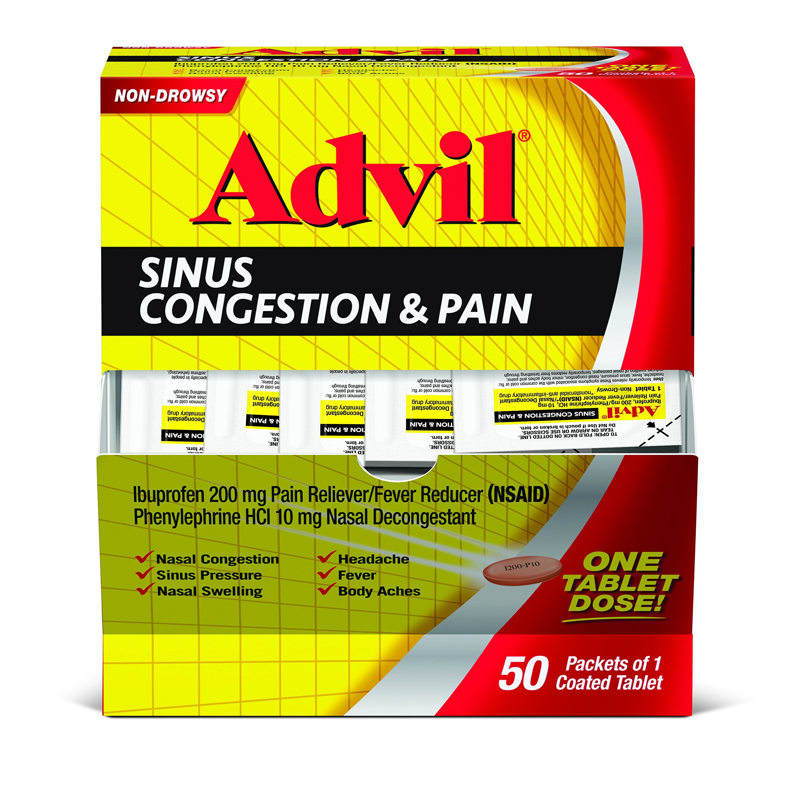 Advil Sinus Congestion & Pain (50 Count) Pain Reliever/Fever Reducer Coated Tablet, 200mg Ibuprofen, Nasal Decongestant, Sinus Pressure