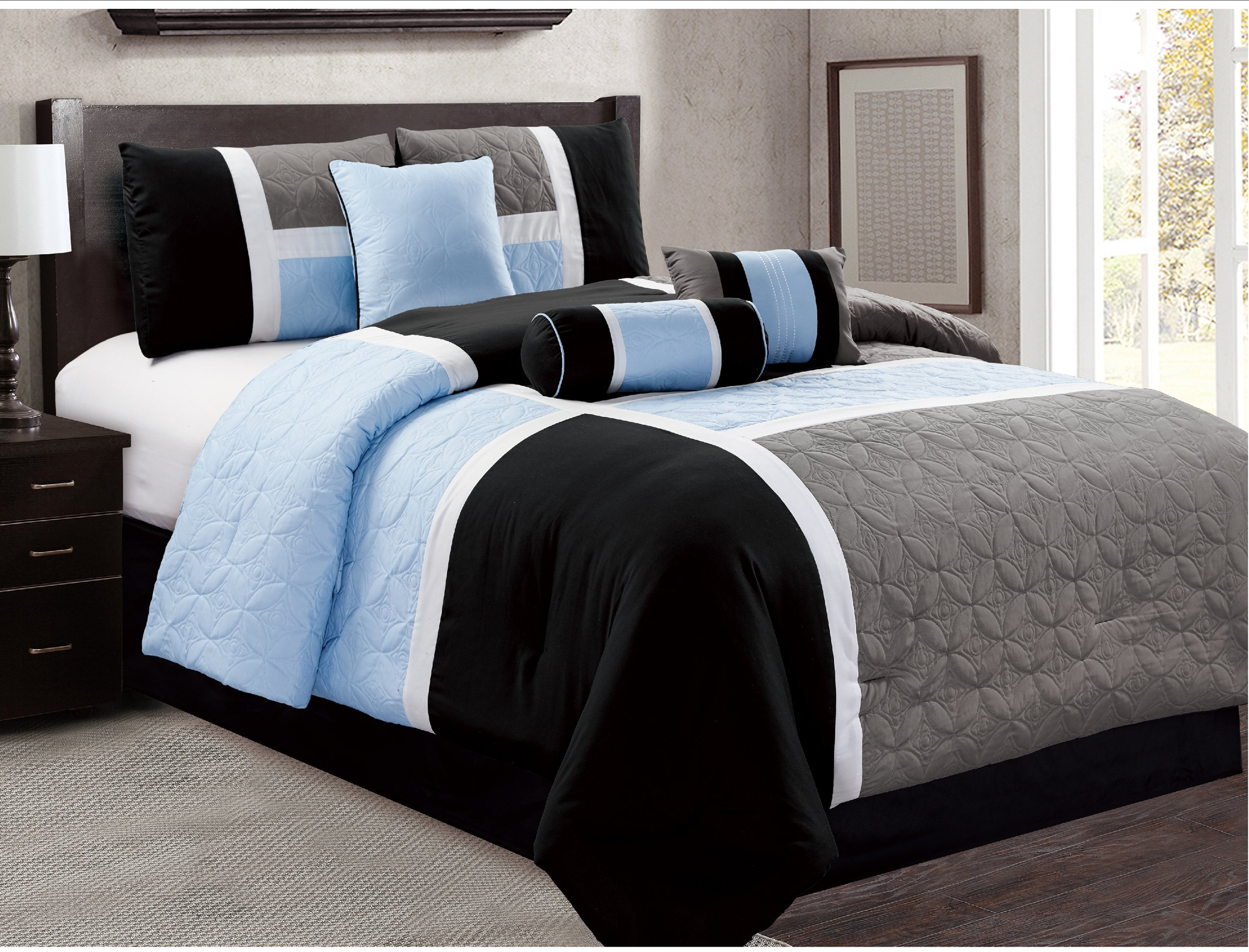7 Piece Luxury Bed in bag Comforter Set - Closeout (King, Black / Blue)