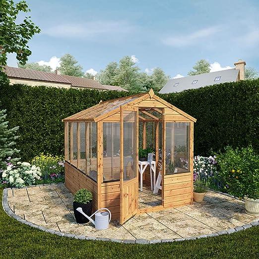 Cobertizo de madera Evesham de 1,2 m x 2 m de efecto invernadero acristalado, T & G, acristalamiento inastillable, de Waltons: Amazon.es: Jardín