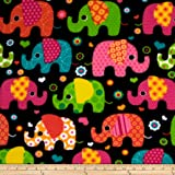 Winter Fleece Elephants Multi Fabric By The Yard