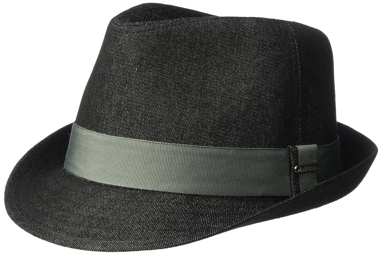 Van Heusen Men's Fedora Hat Cotton Twill Fabric Black Denim M/L ABVH2251AZ-001