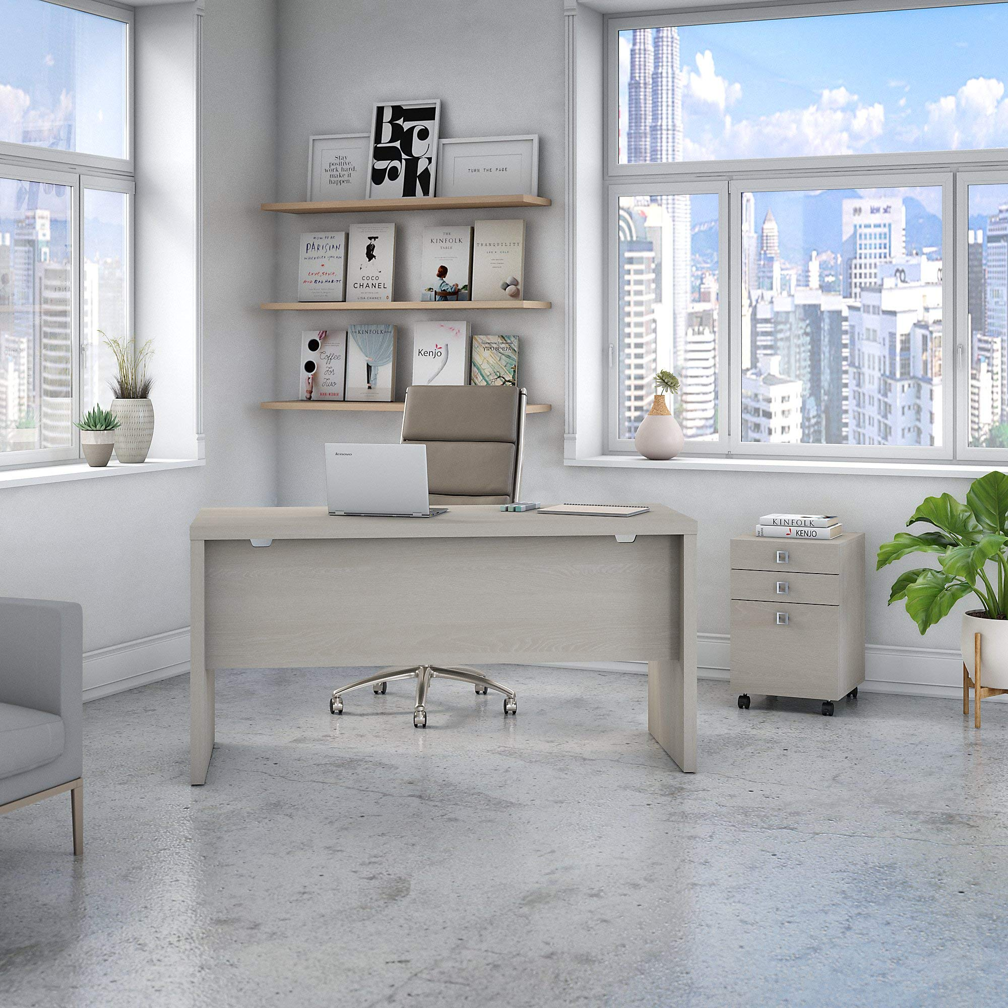 Office by kathy ireland Echo Credenza Desk with Mobile File Cabinet in Gray Sand by Office by kathy ireland (Image #2)