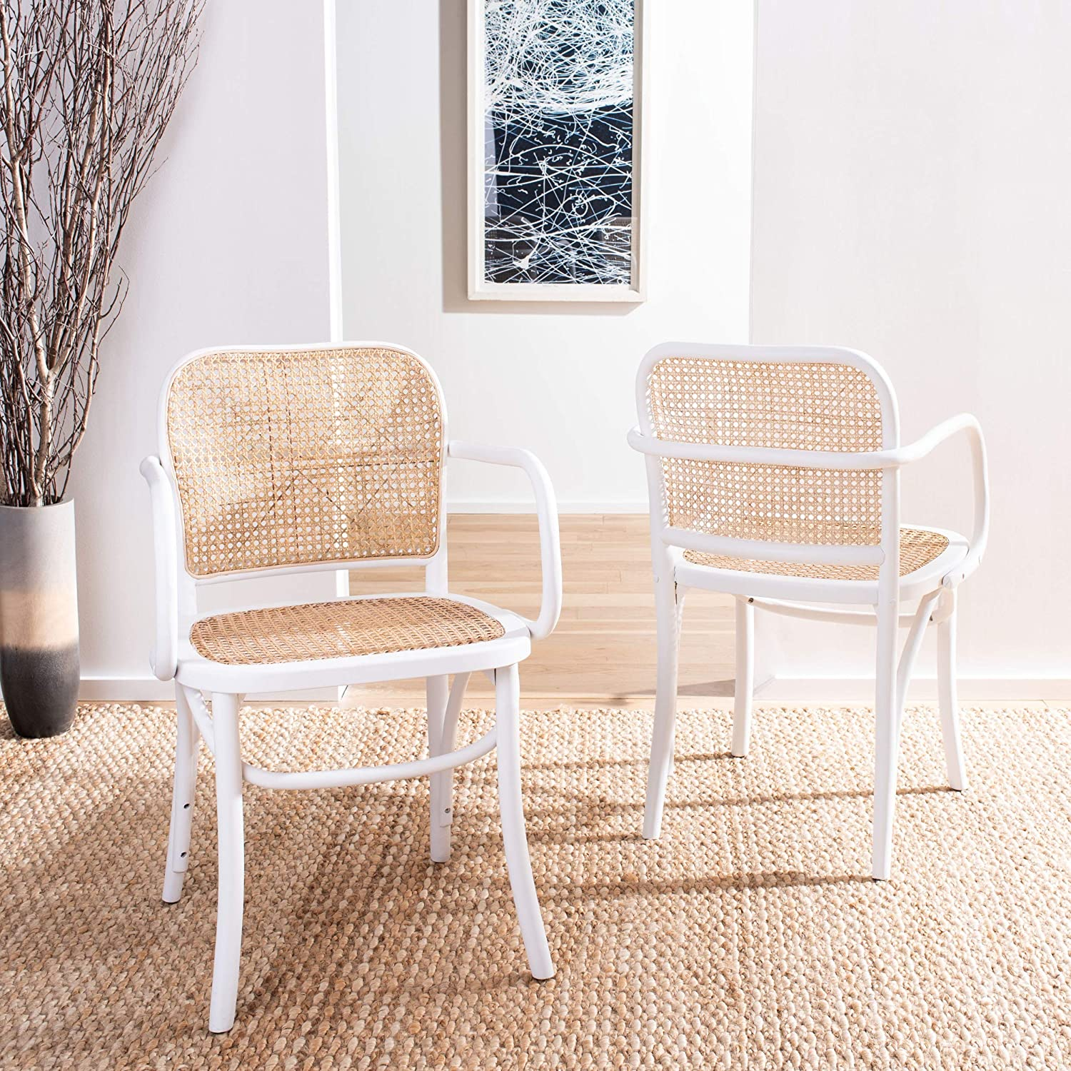 Safavieh Home Keiko White and Natural Cane Dining Chair,
