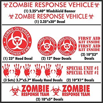 Zombie outbreak Response 2 big Door Decals