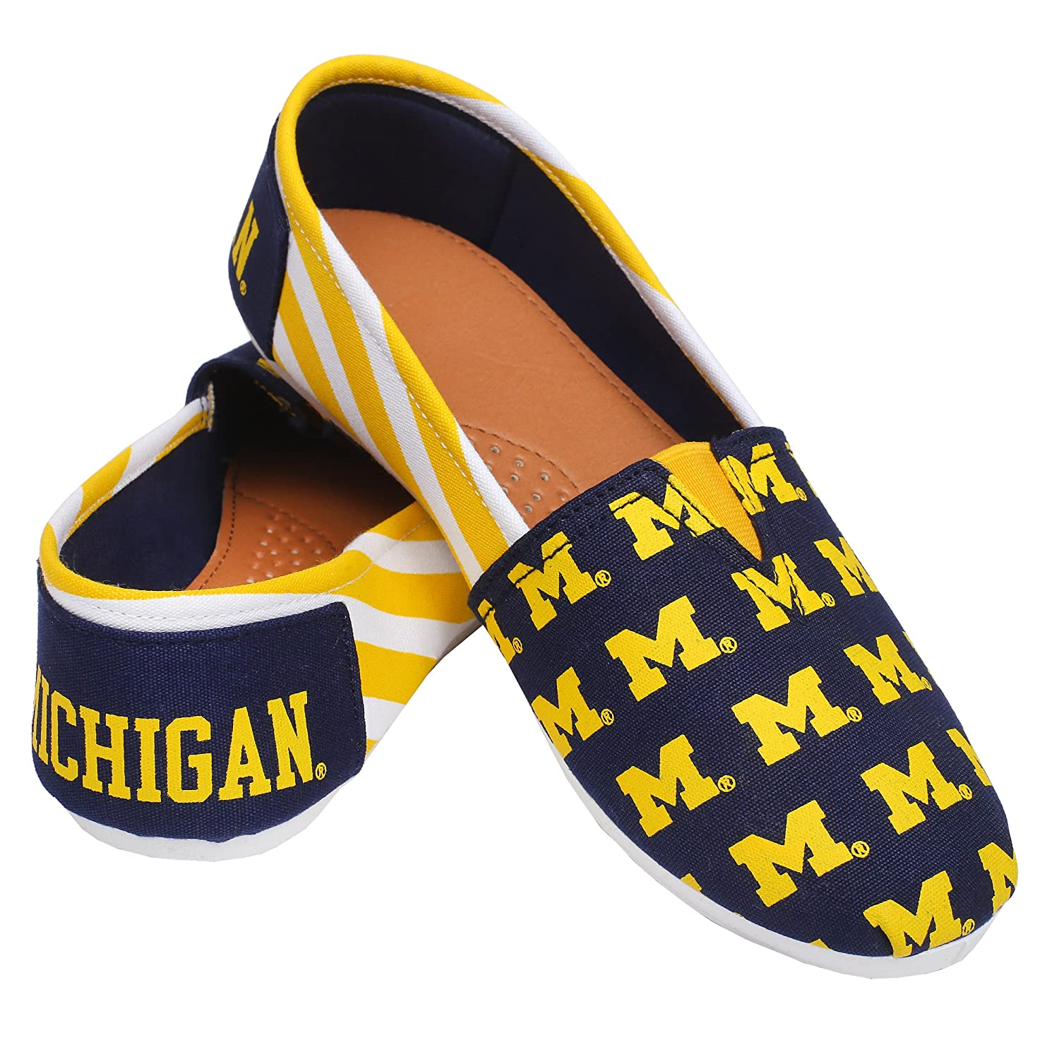 FOCO Michigan Wolverines NCAA Womens Stripe Canvas Shoes S